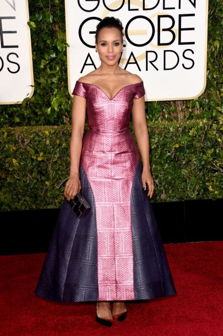 Kerry Washington in a two-tone Mary Katrantzou dress at the Golden Globes 2015