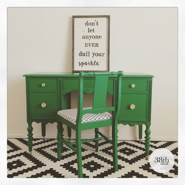 milk paint, general finishes, painted desk, refinished desk, emerald green, upholstered chair, furniture makeover, chair makeover, desk makeover