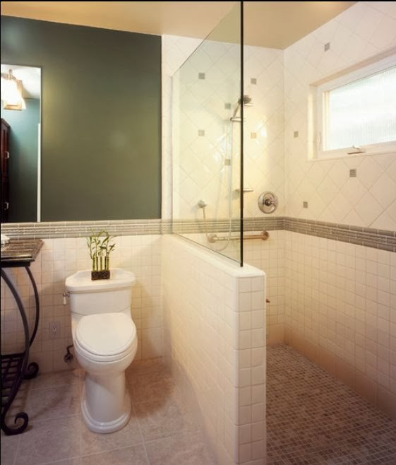 Management Chair: DESIGN IDEA: Half-Height Tiled Shower ...