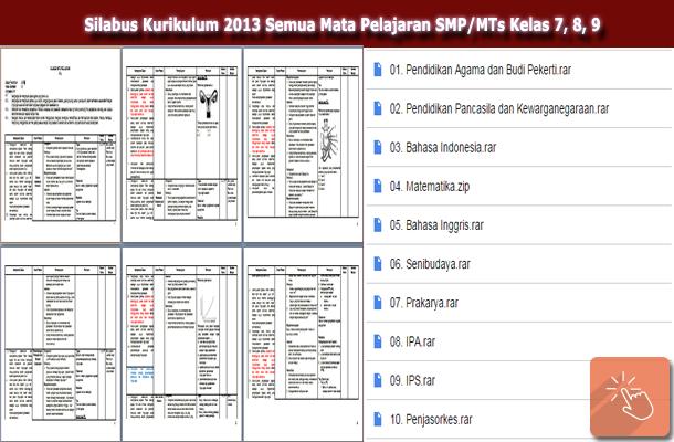 Silabus Kurikulum 2013 Semua Mata Pelajaran SMP/MTs Kelas 7, 8, 9