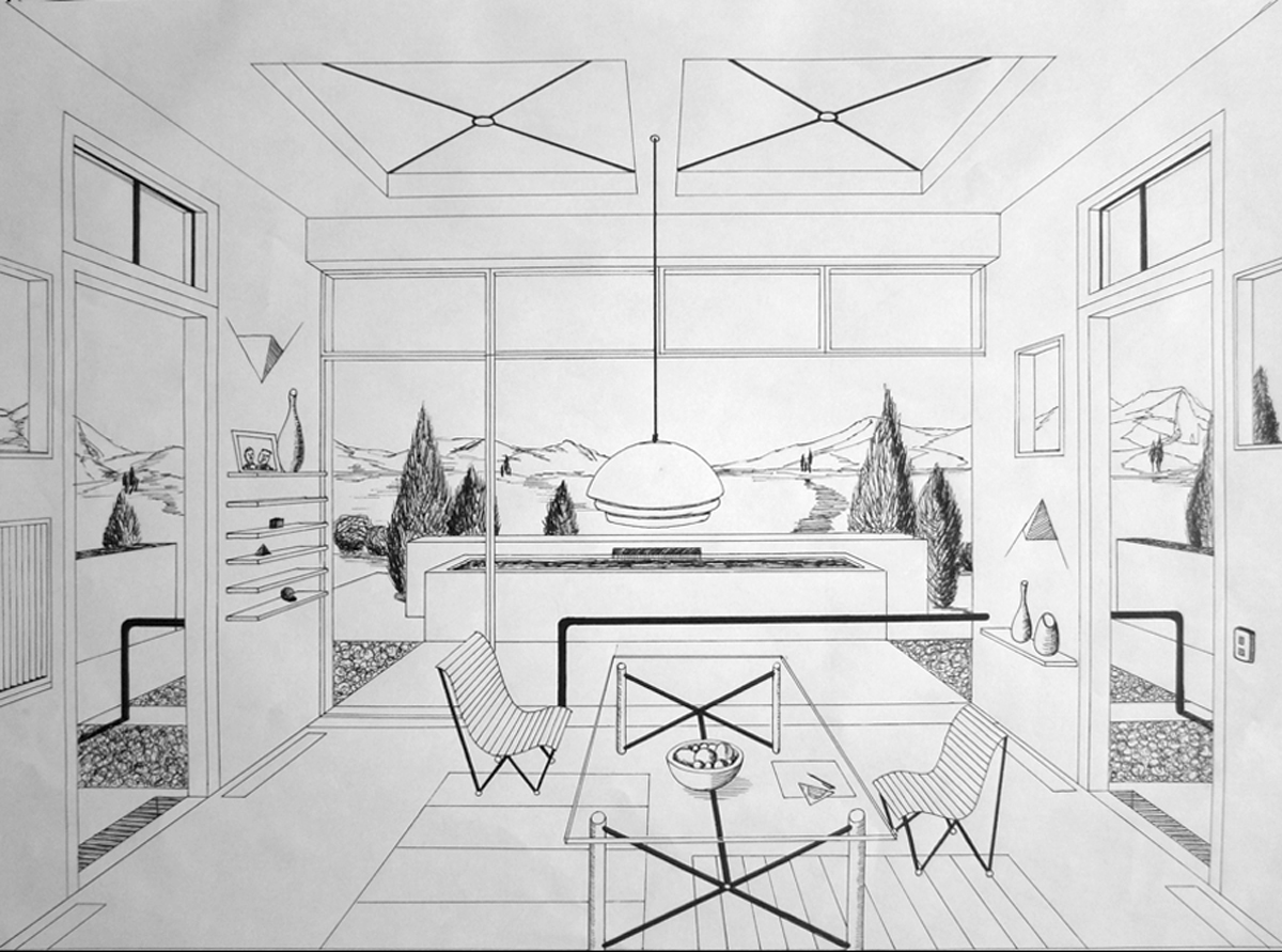Free hand drawing arch 1341 fall 2012 september 2012 - One point perspective drawing living room ...