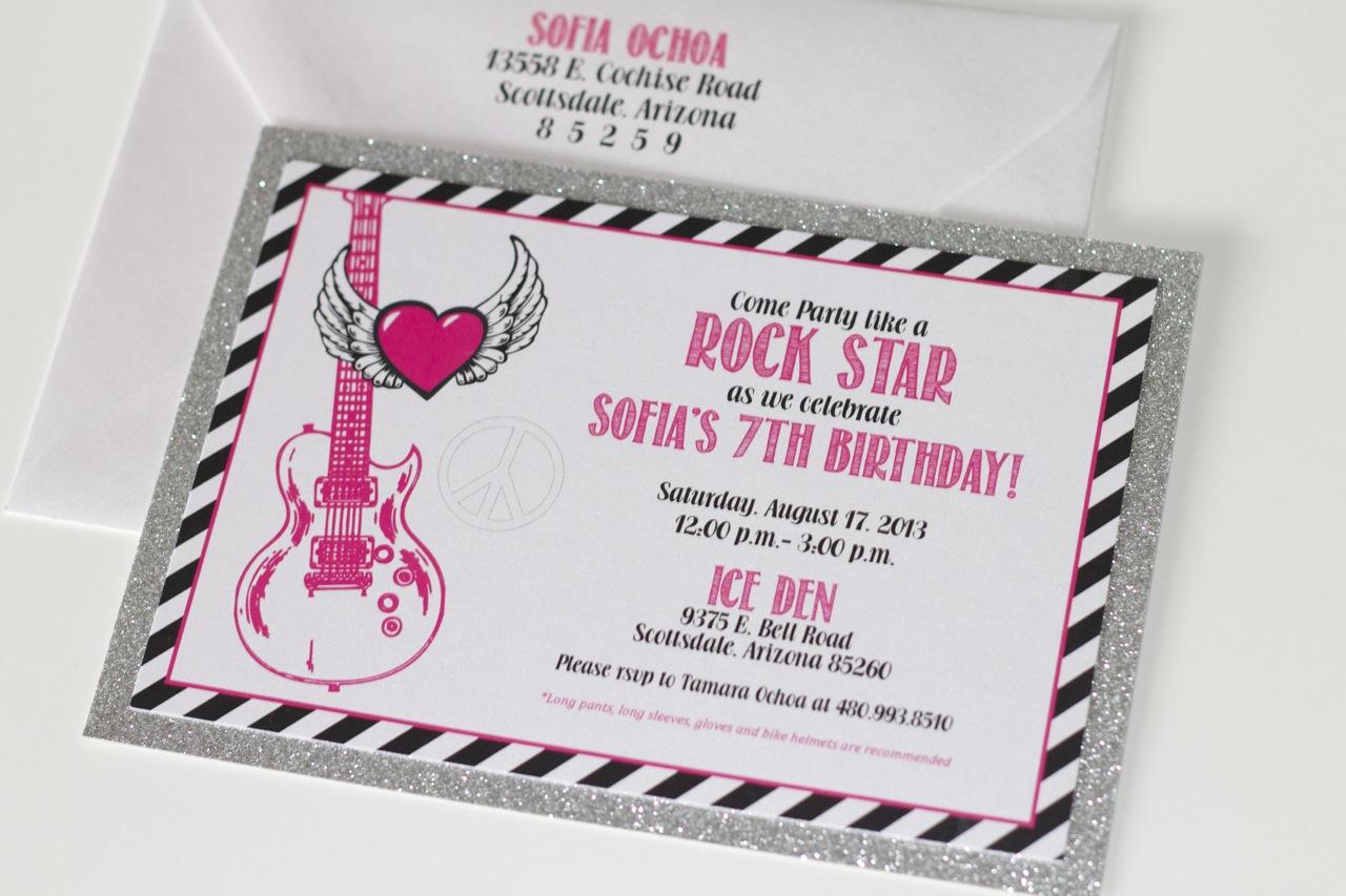 Rockstar Girly Glittery Birthday Invitations - Embellished Paperie LLC