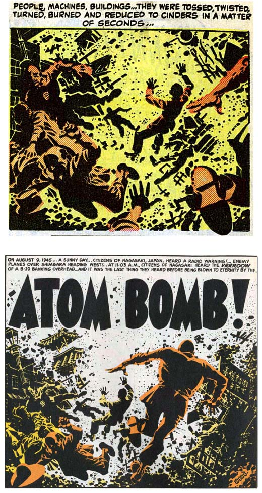 JIM 15 and Two-Fisted 33 panels with people tossed about by atom-bomb blast