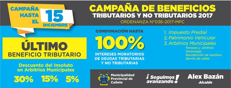 ¡¡¡Último BENEFICIO TRIBUTARIO Y NO TRIBUTARIO del año!!!!