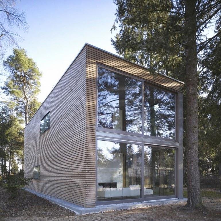 Bangunan berdinding kayu minimalis