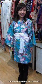 Cute girl wearing a kimono from Kimono House NY