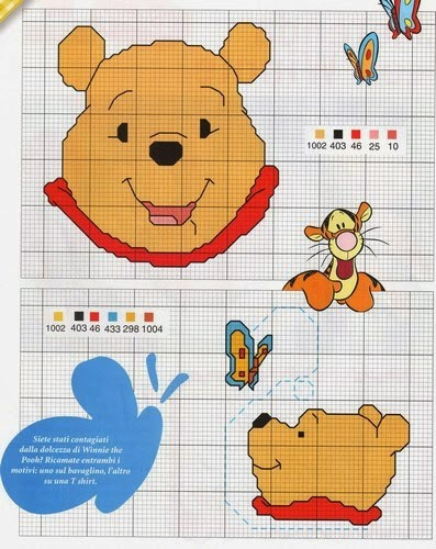 Hobby lavori femminili ricamo uncinetto maglia for Winnie the pooh punto croce schemi