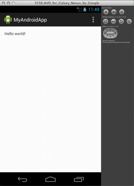 اجرای برنامه HelloWorld بر روی شبیهساز