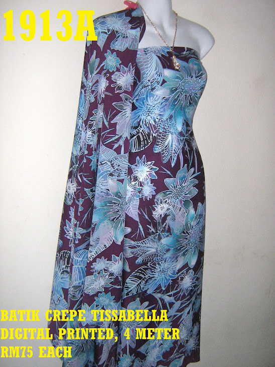 BTD 1913A: BATIK CREPE TISSABELLA DIGITAL PRINTED, EXCLUSIVE DESIGN, 4 METER