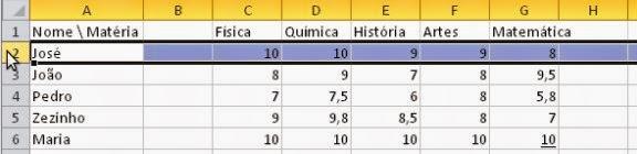 Como botar uma linha no Excel