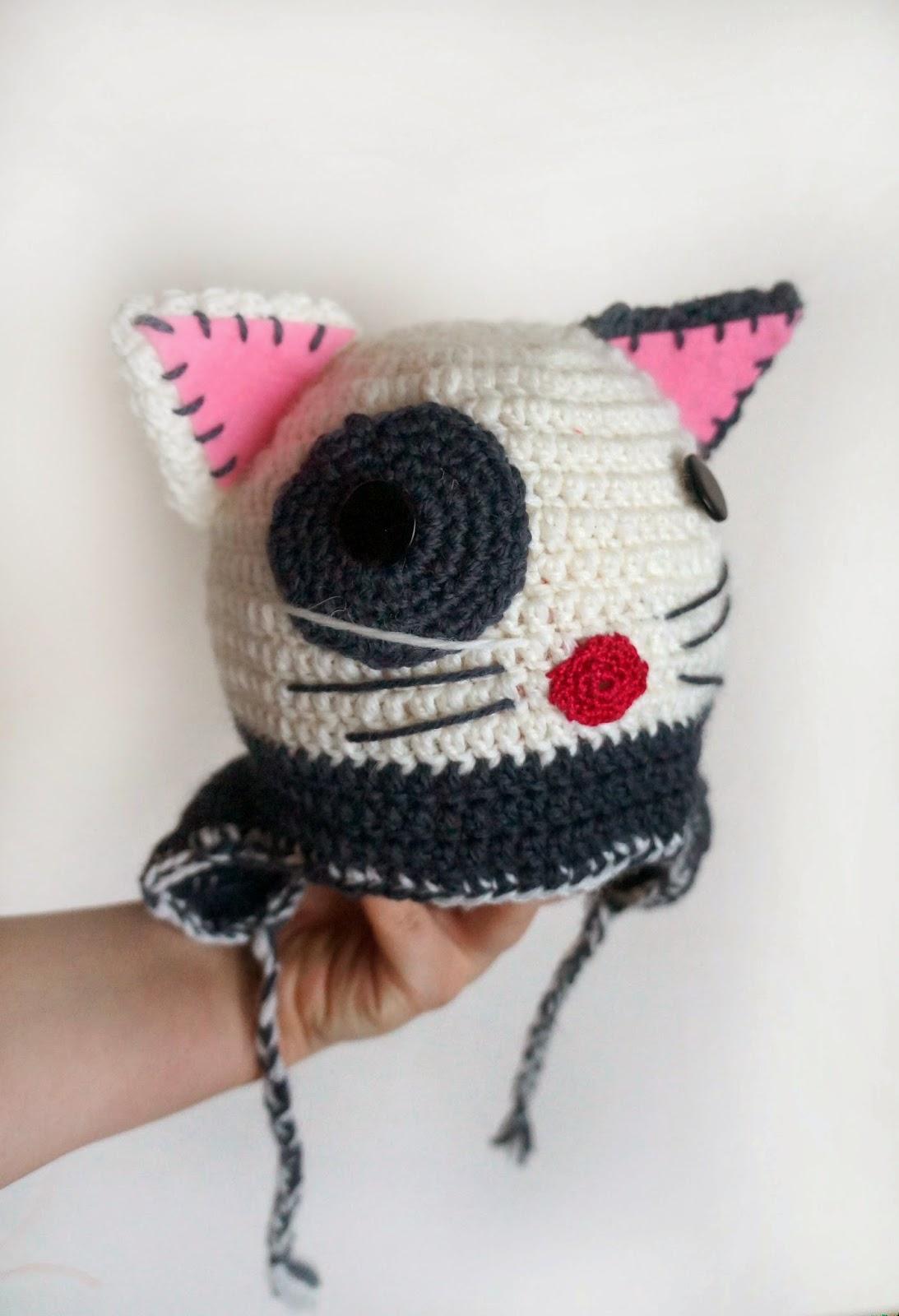 шапка крючком котик