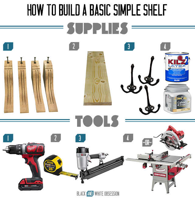 How to build a basic simple shelf- Supplies | www.blackandwhiteobsession.com #DIY #tutorial #shelves