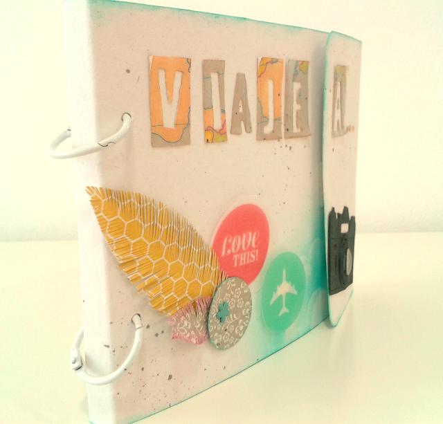 scrapbook, mini álbum, embossing, chalqueado, taller, Violín Cantarín