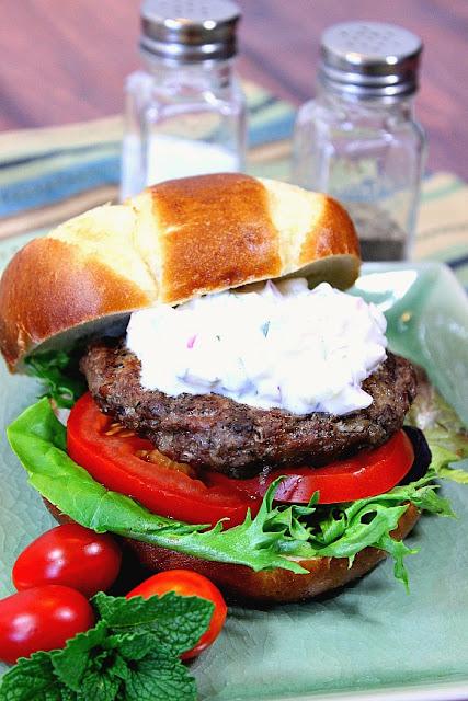 Lamb and Feta Burger with Tzatziki Sauce