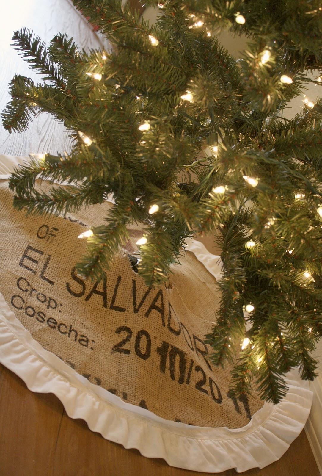 Ruffled Burlap Christmas Tree Skirt