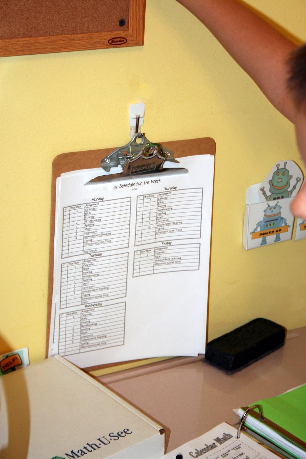 Sue Patrick workboxes printed schedule clipboard homeschool organization
