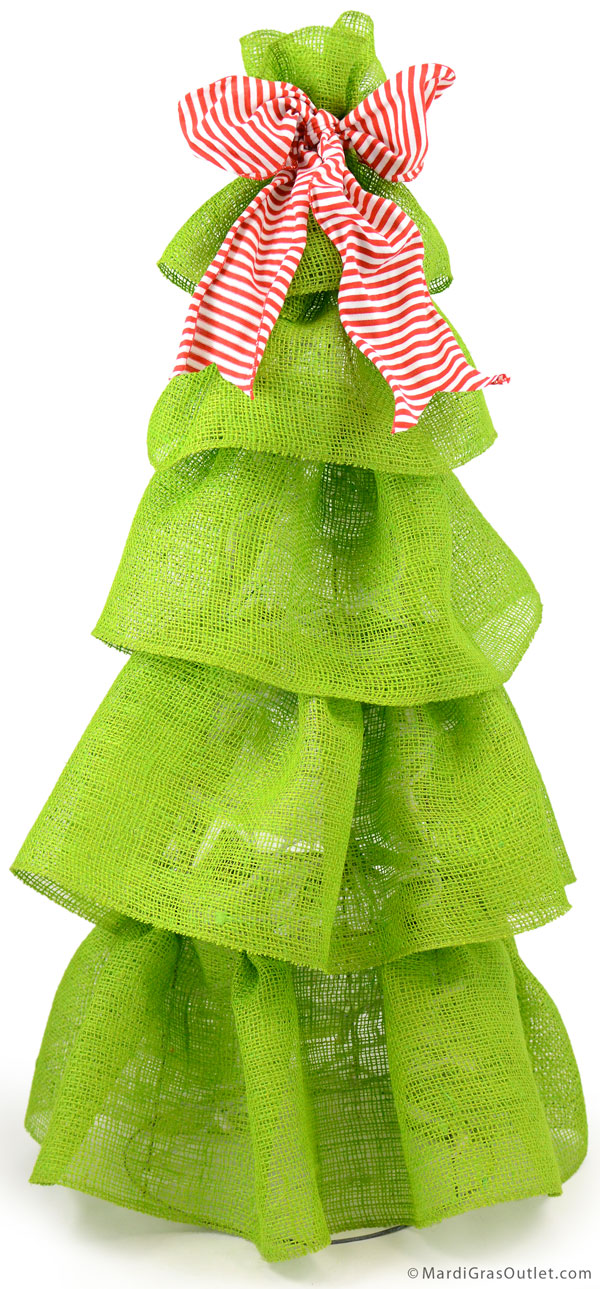Party ideas by mardi gras outlet diy holiday burlap tree for Burlap ribbon on tree