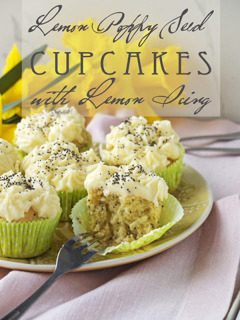 Cupcakes on a plate with a daffodil background.