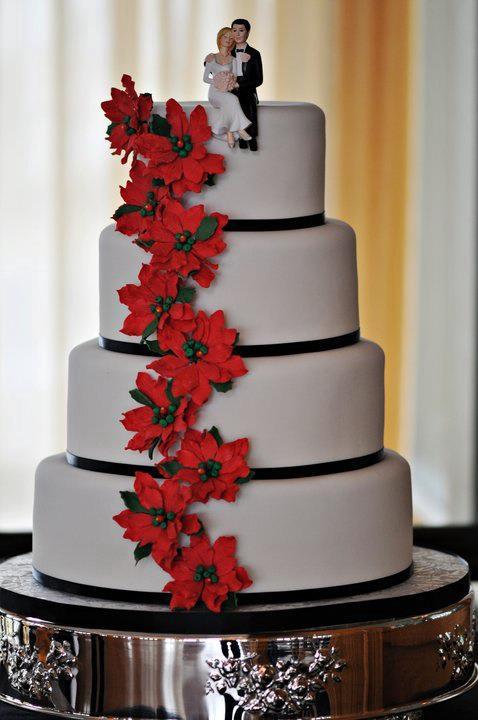 Poinsettia  Tier Wedding Cakes