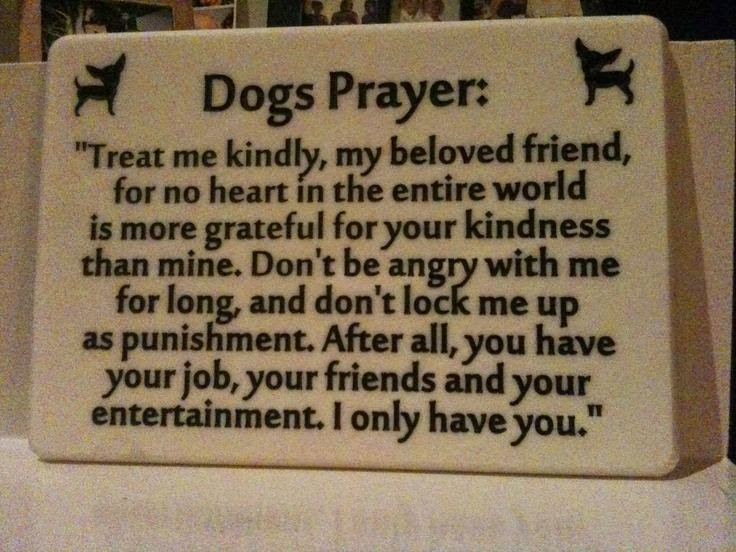 Always treat your dogs right, Dog poems, prayers,