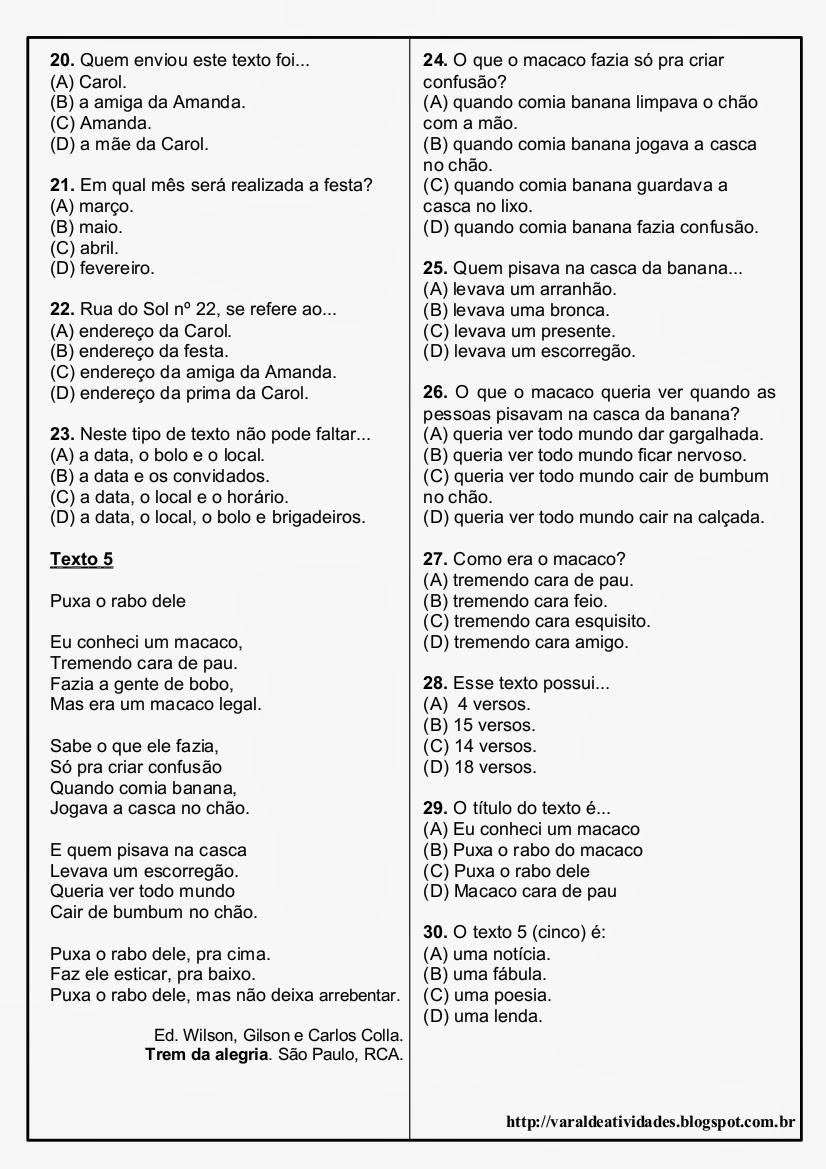 Fabuloso VARAL DE ATIVIDADES: Avaliação de Português - 5 textos 30 QUESTÕES  EF51