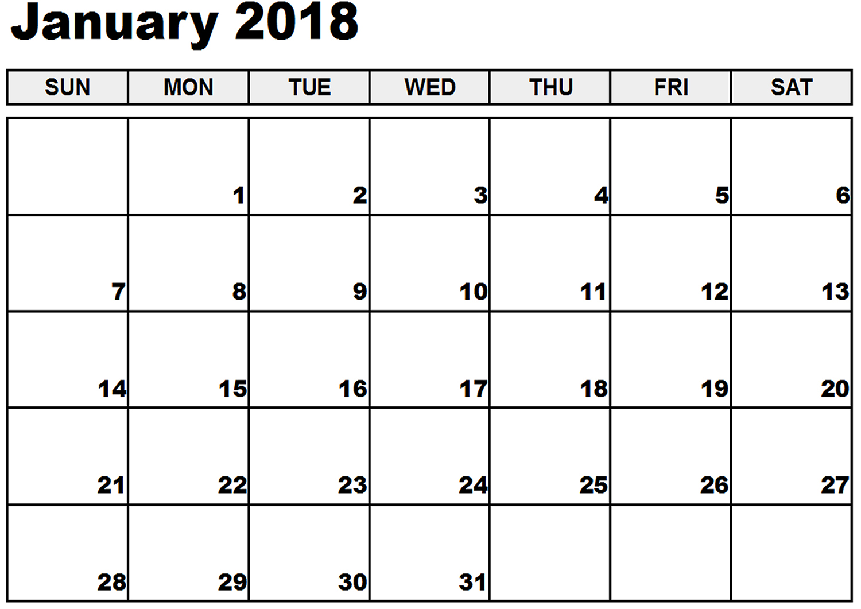 printable 2018 monthly calendar template