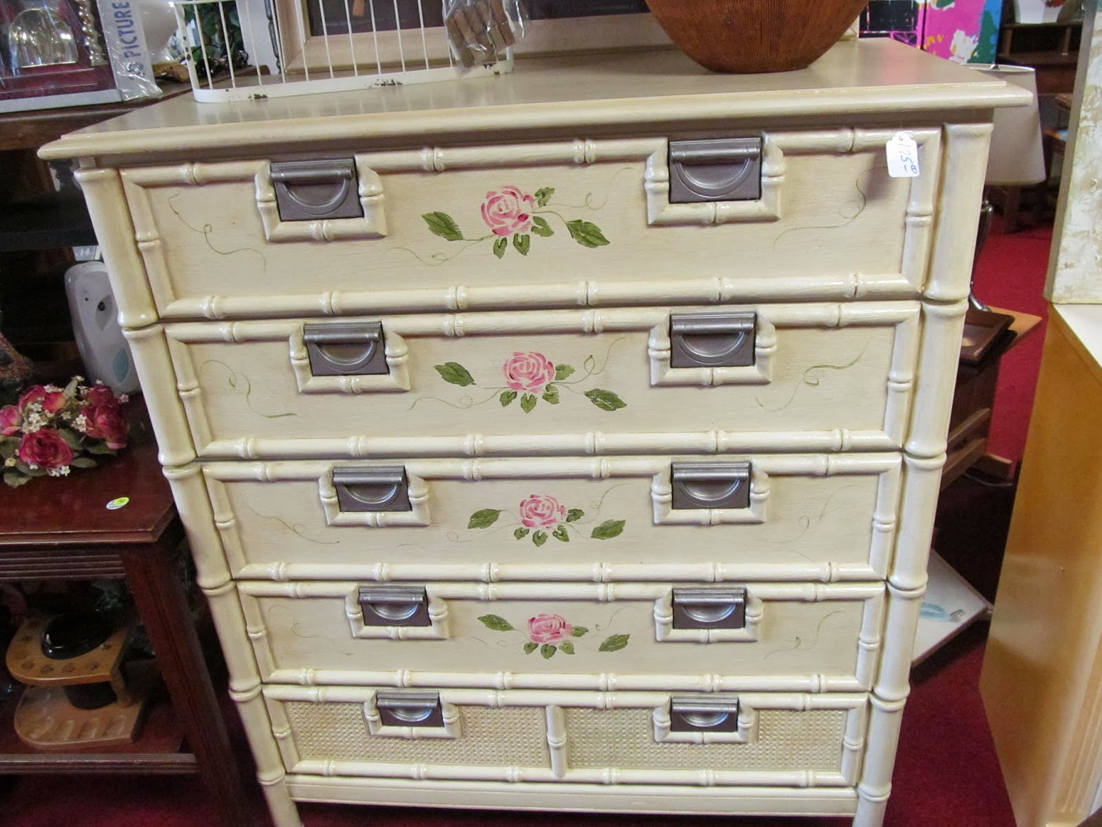 hand-painted dresser at Mertie's This and That