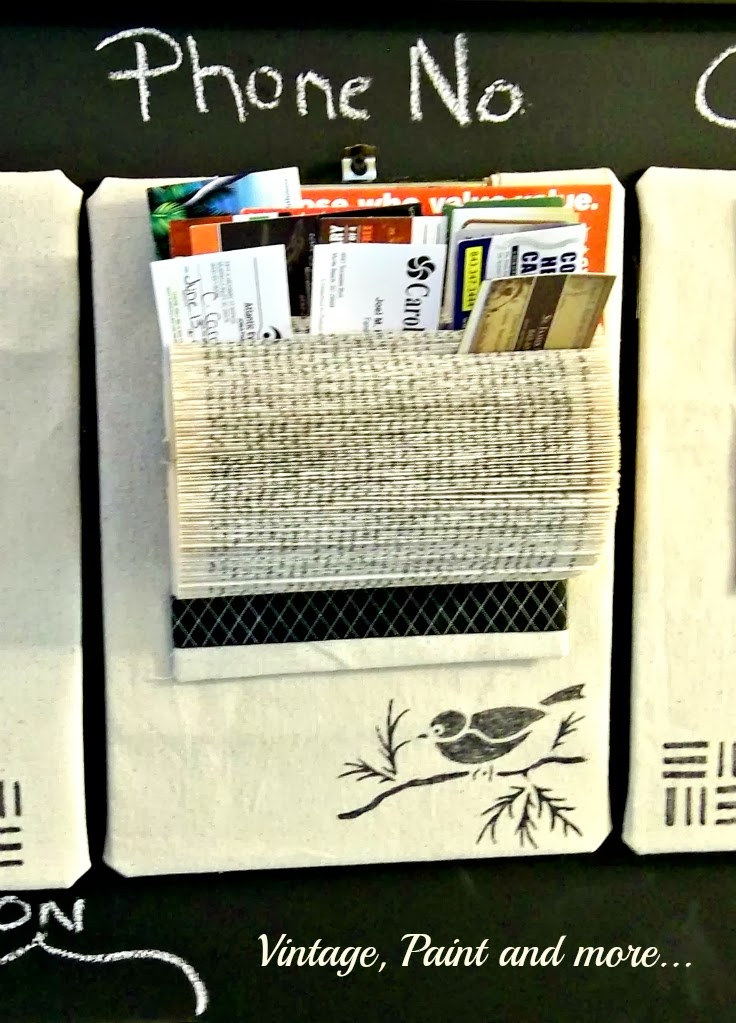 Book Page Note Holder - image of book page noteholder on stenciled clip board
