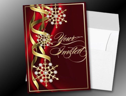 Jeweled Jazzy Snowflake Red Holiday invitations