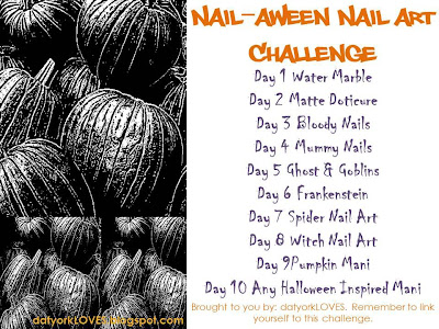 nails nailart nail art Spellbound mani manicure Halloween water marble October Nail-Aween Challenge black white LA Colors