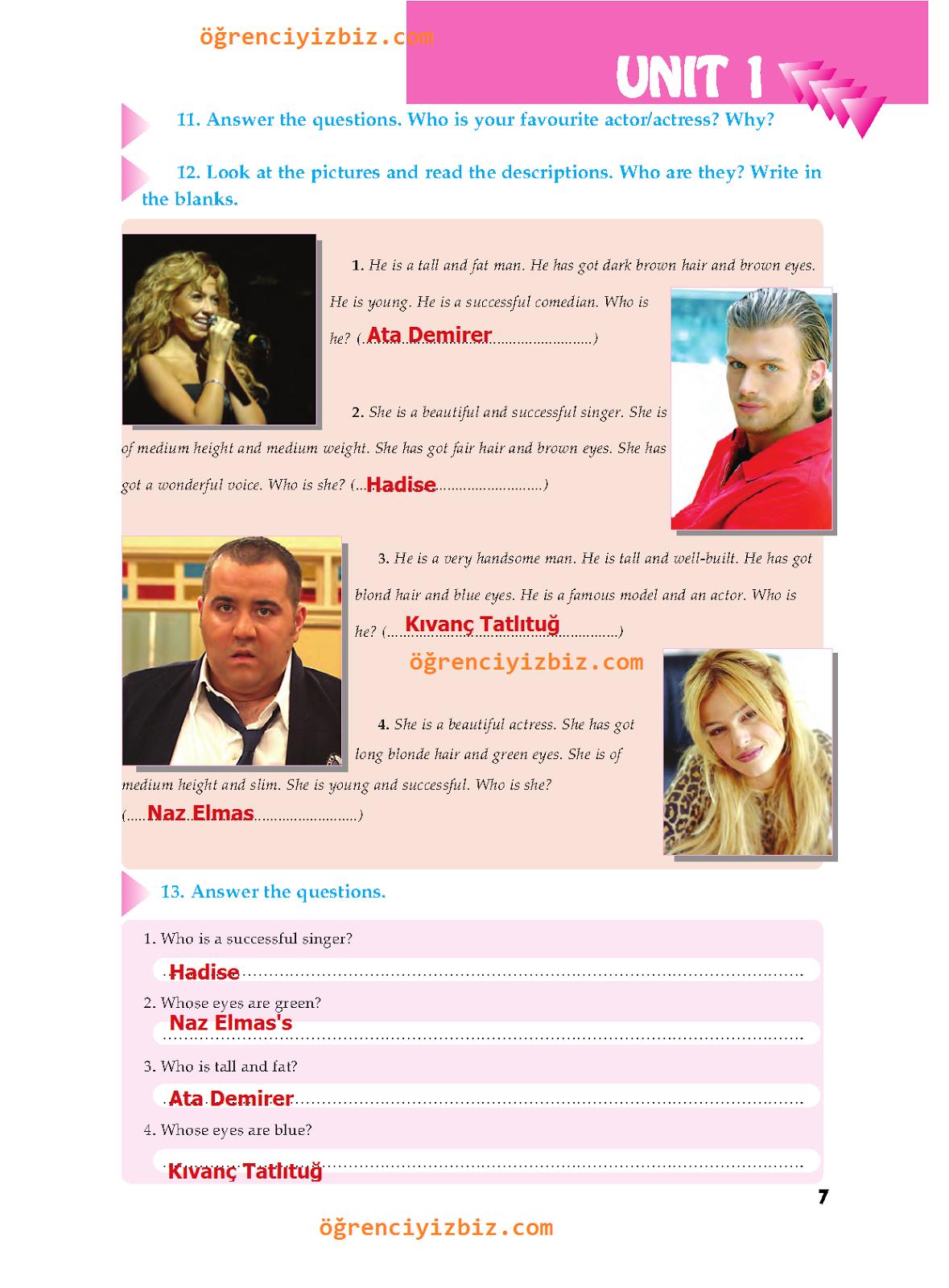 6.Sınıf İngilizce Ders  Kitabı -  Atlantik Yayınları Sayfa 7 Cevapları