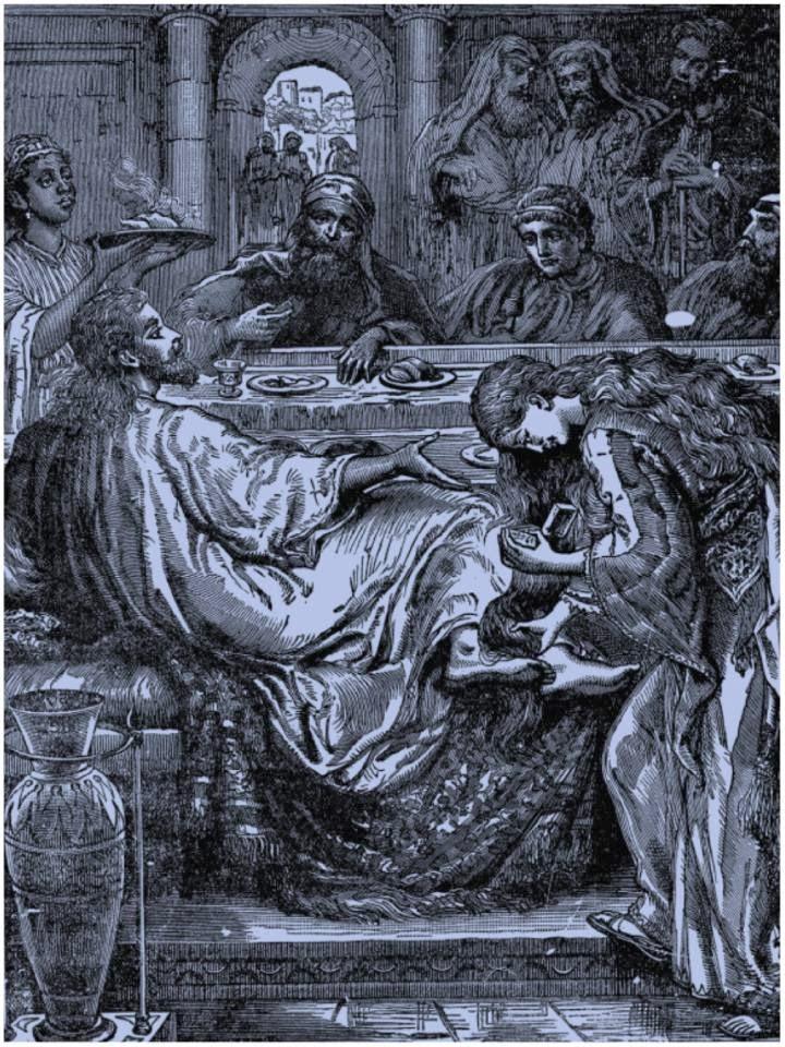 En la imagen Santa Maria de Betania secando los pies de Jesus con sus cabellos.