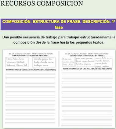 COMPOSICIÓN. ESTRUCTURA DE FRASE. DESCRIPCIÓN. 1ª fase