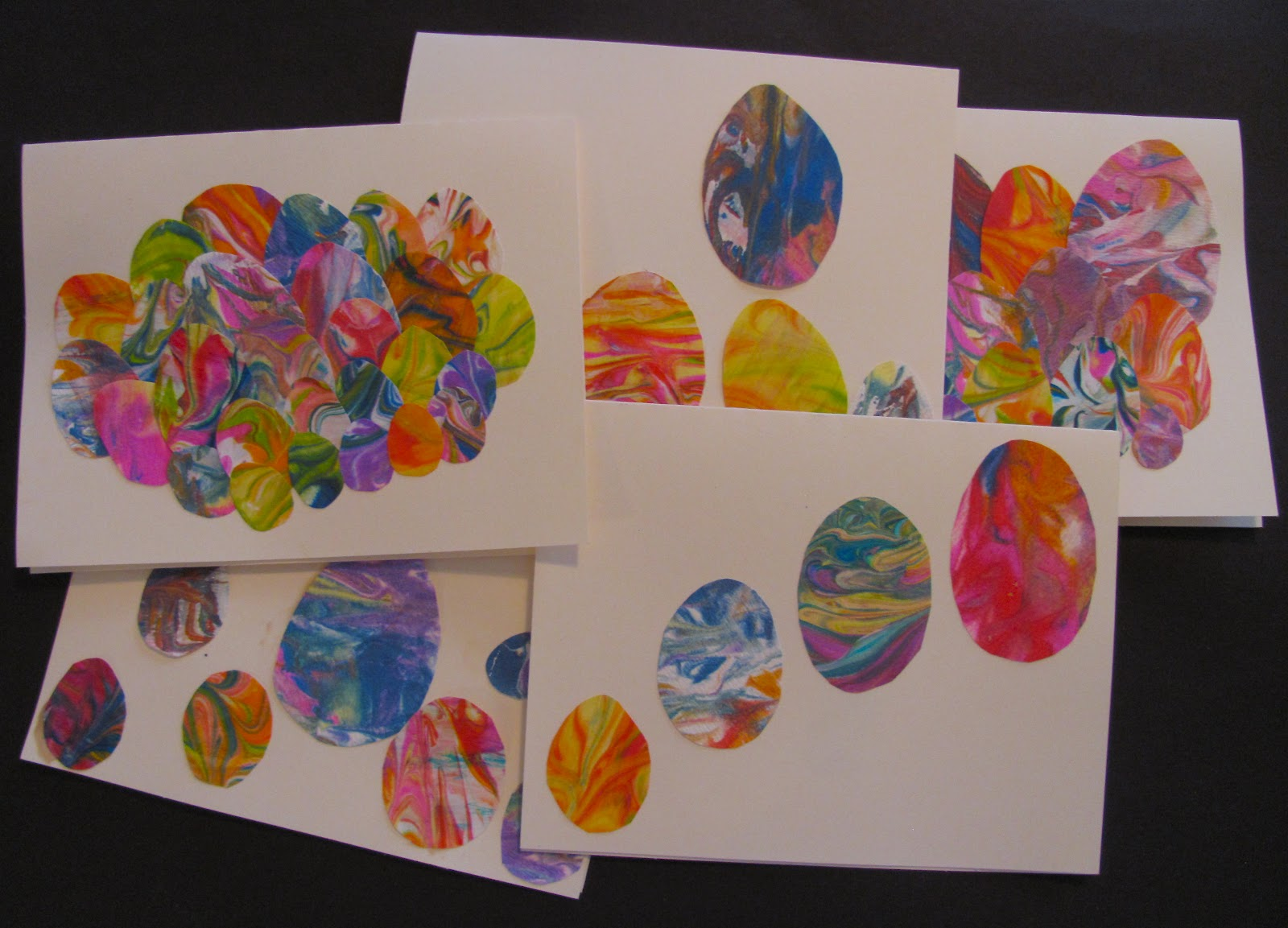 the chocolate muffin tree shaving cream marbled easter egg cards