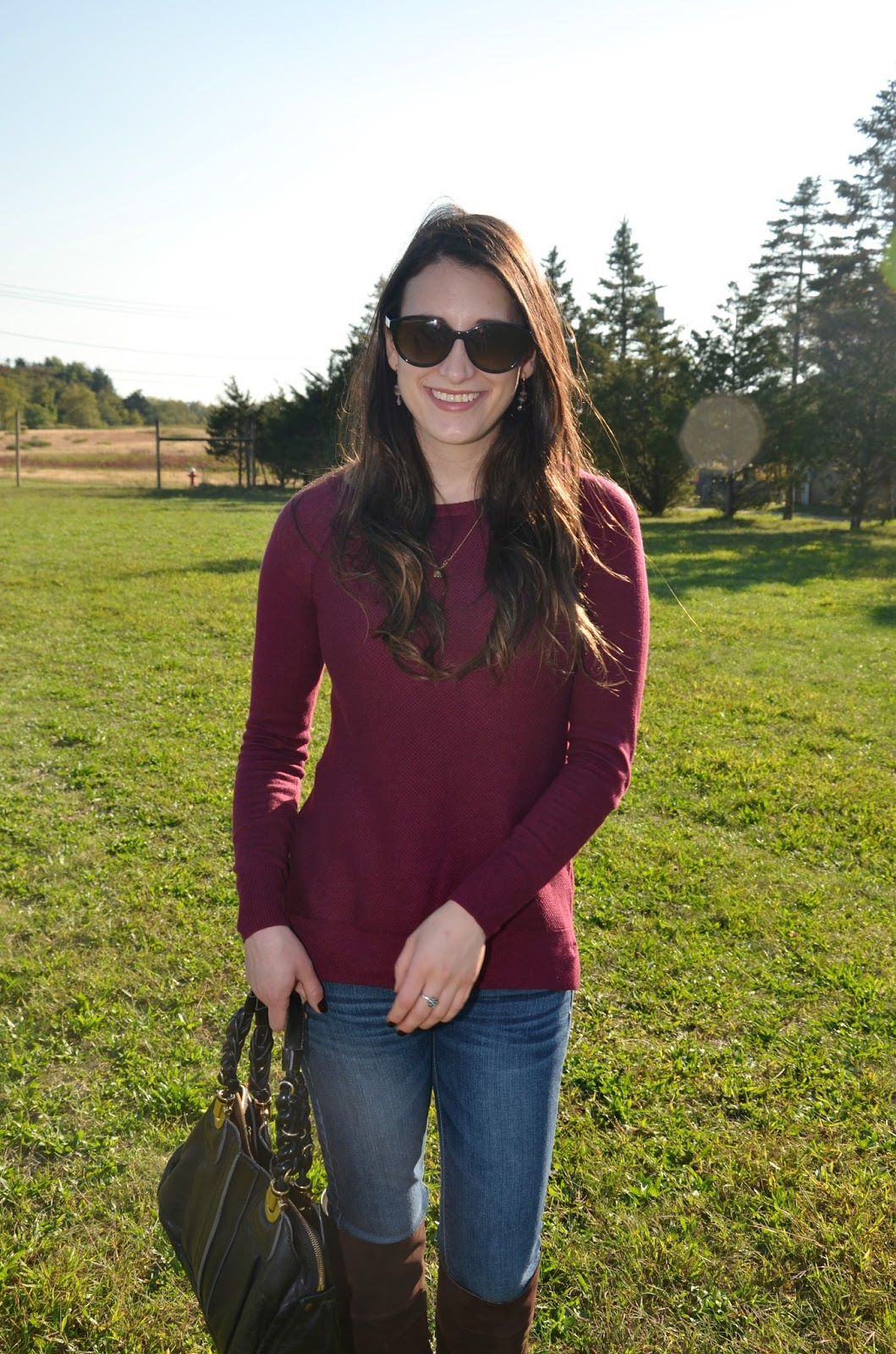 burgundy sweater + suede over the knee boots