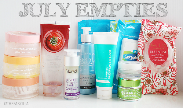 product empties, murad invisiblur perfecting shied, murad hydro-dynamic ultimate moisture, glamglow powermud, paula's choice, truage, the body shop scrubs, cetaphil wipes, pacifica wipes, review