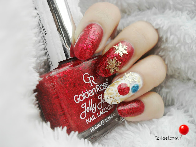 Golden Rose Jolly Jewels Christmas nail art model de unghii