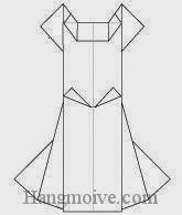 Bước 17: Hoàn thành cách xếp chiếc váy cưới bằng giấy theo phong cách origami.