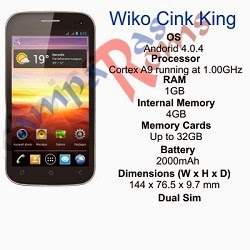Wiko Cink King specs and stock rom download