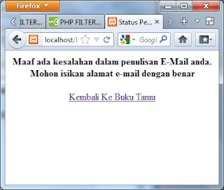 validasi kesalahan email