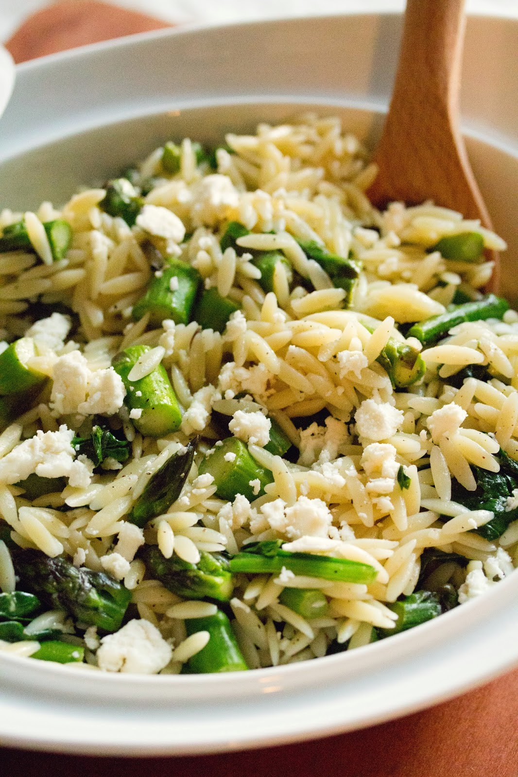 Lemon Orzo Salad With Asparagus, Spinach, And Feta Recipe ...
