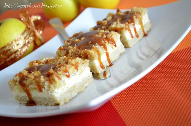 Prajitura cu branza, mere si caramel - Apple caramel cheesecake