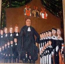 Jens Kofoed med sine 2 koner og alle deres børn
