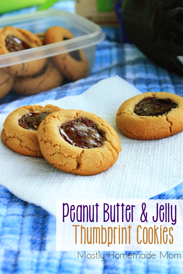 Mostly Homemade Mom: Peanut Butter and Jelly Thumbprint Cookies
