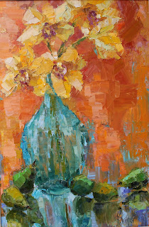 Awakened by Kathryn Morris Trotter, impasto, oil paintings by Kathryn Trotter, Kathryn Morris Trotter, floral oil paintings, orange paintings