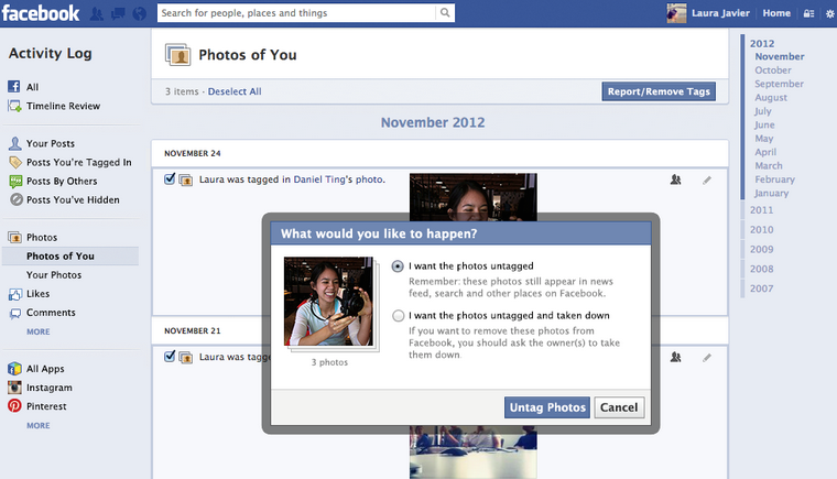 Tag/untag photos in facebook new settings