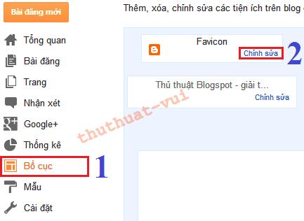 Thay đổi Favicon cho blogger, bố cục Blogger, layout blogspot