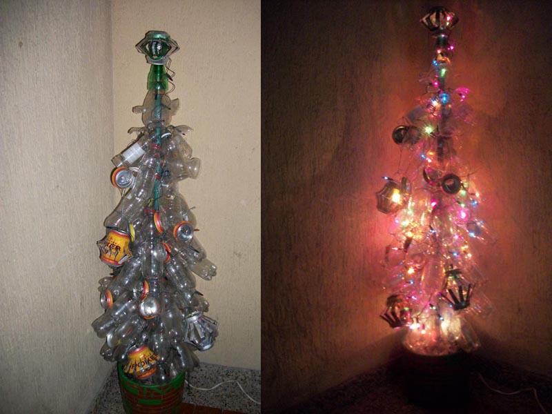 Azul: DIY Arbol de Navidad: Botellas Plásticas y Latas de Aluminio