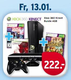 Bei Karstadt am 13.01.: Xbox 360 4 GB + Kinect Sensor + Kinect Adventures + Dance Central + Dragon Age für 226,95€ inklusive Versandkosten