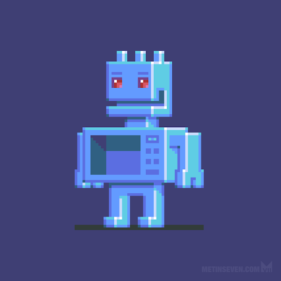 Magnetron — pixeled robot sprite character design.